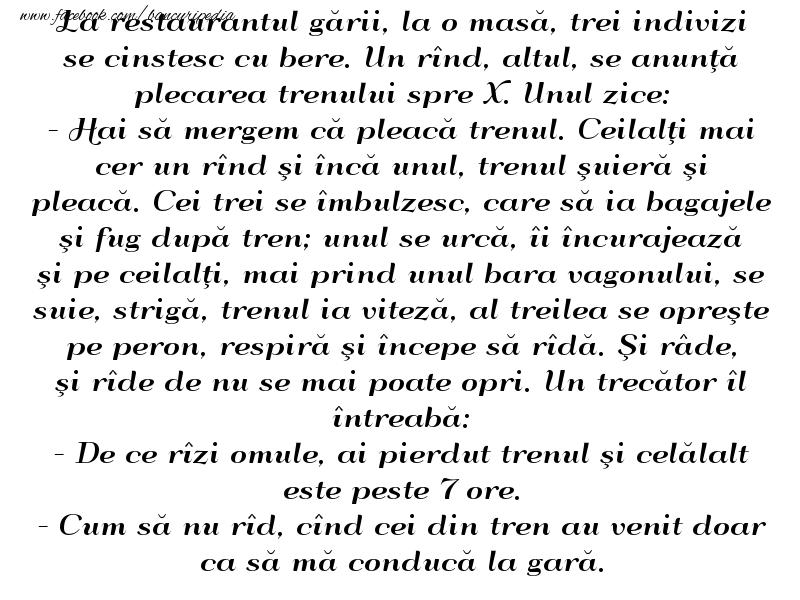 Bancuri cu Beţivi - La restaurantul gării...