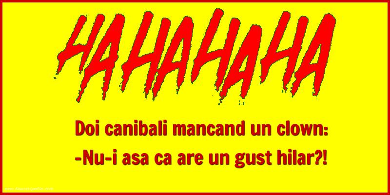 Bancuri cu Canibali - Doi canibali mancand un clown