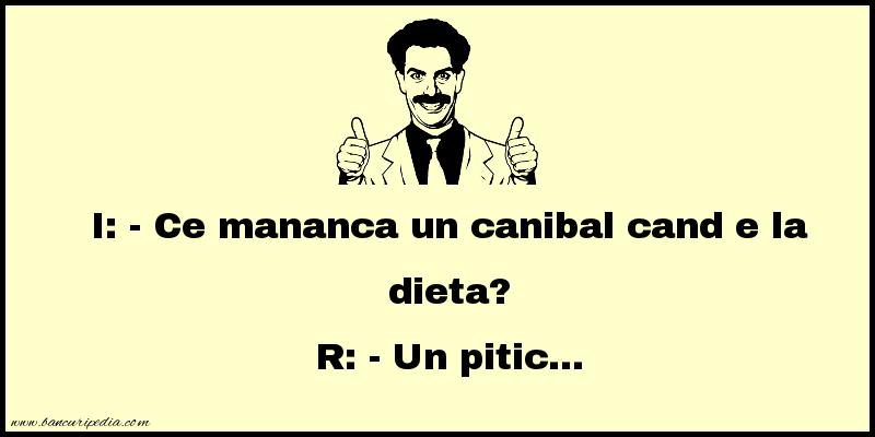 Bancuri cu Canibali - Ce mananca un canibal cand e la dieta