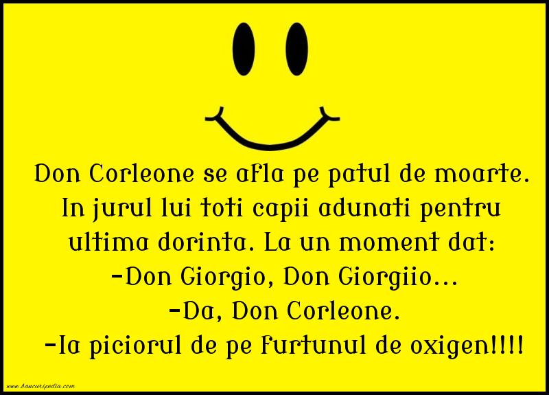 Bancuri cu Celebritati - Don Corleone se afla pe patul de moarte