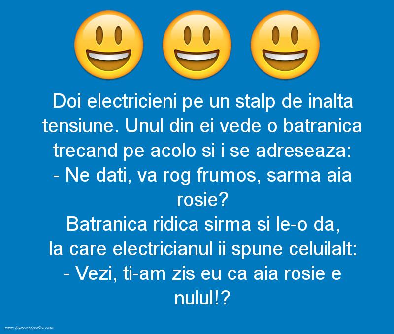 Glume - Doi electricieni pe un stalp de inalta tensiune