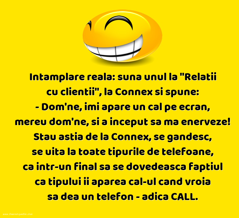 Bancuri cu Telefoane - Intamplare reala: suna unul la Relatii cu clientii